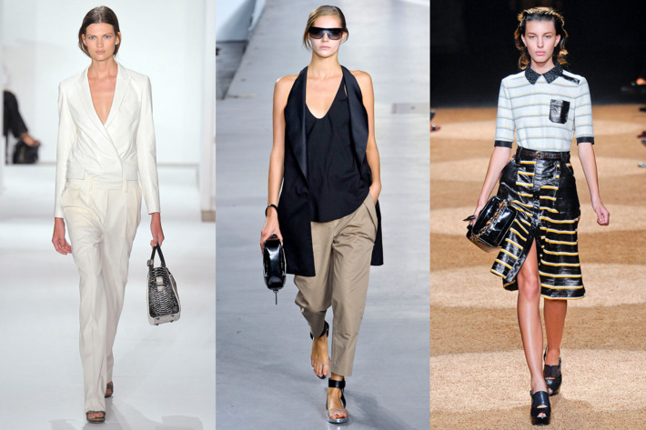 From left: Spring looks from Reed Krakoff, 3.1 Phillip Lim, and Proenza Schouler.