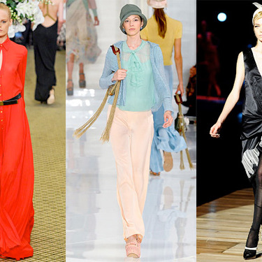 From left: spring 2012 looks from Bill Blass, Ralph Lauren, Marc Jacobs