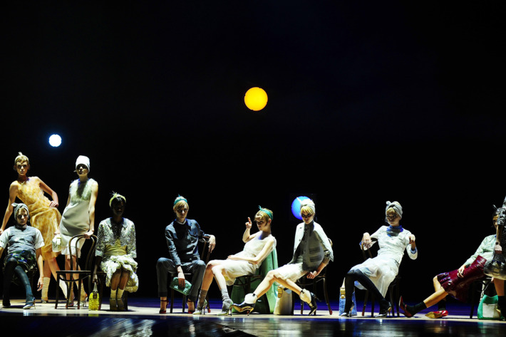 Models pose for the finale of the Marc Jacobs Spring 2012 Collection runway show.