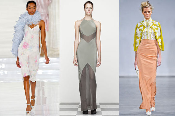 From left: new spring looks from Ralph Lauren, T by Alexander Wang, and L'Wren Scott.