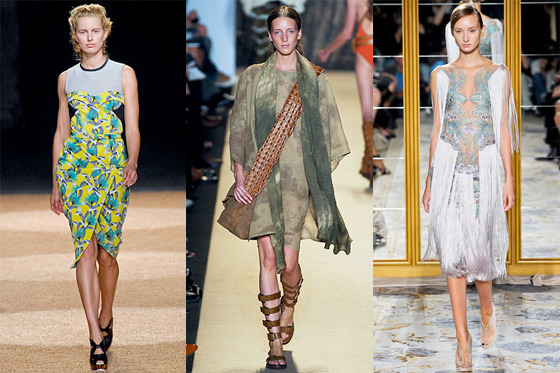 From left: spring looks from Proenza Schouler, Michael Kors, and Marchesa.