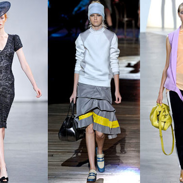 Looks from L'Wren Scott, Marc Jacobs, and Phillip Lim.