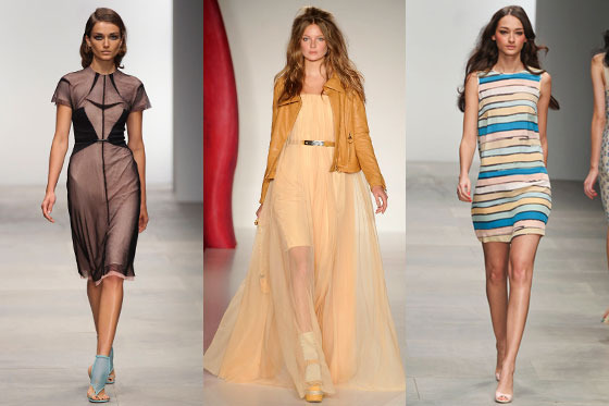 Looks from Marios Schwab, Mulberry, and Issa.
