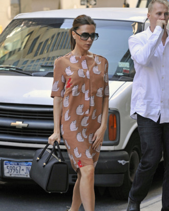 Victoria Beckham in one of her new cat-print designs.
