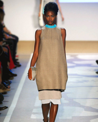 Melodie Monrose walking at Diane Von Furstenberg.