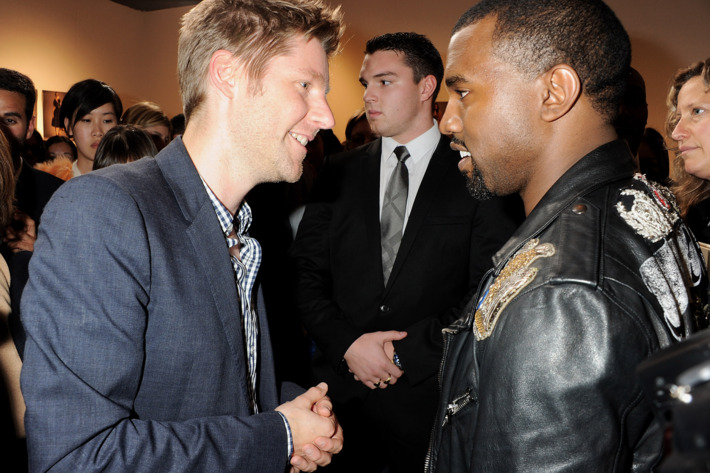 Kanye greeting Christopher Bailey after the Burberry show.