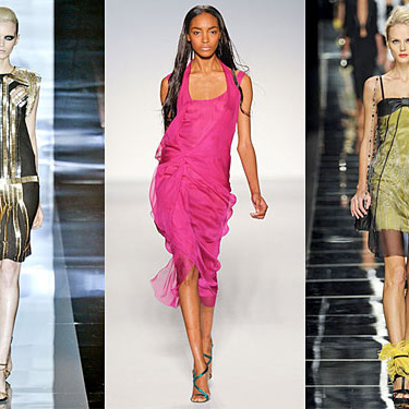 From left: Spring looks from Gucci, Alberta Ferretti, and John Richmond.
