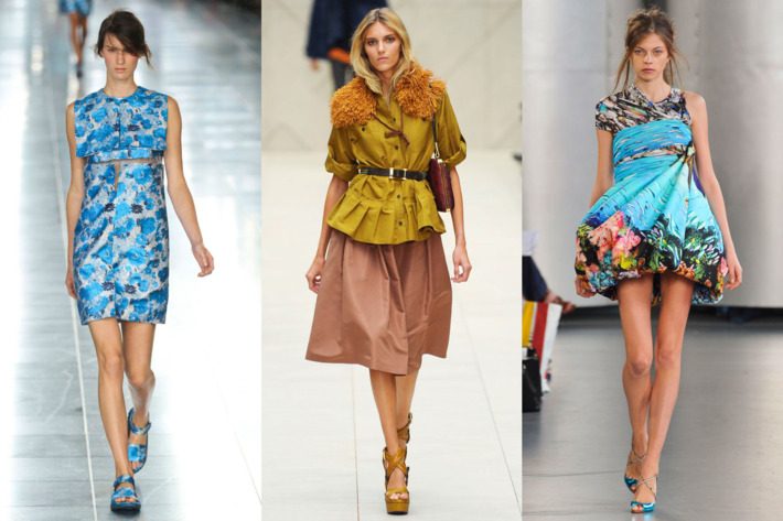From left: spring looks from Christopher Kane, Burberry, and Mary Katrantzou