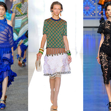Looks from Missoni, Marni, and Dolce & Gabbana.