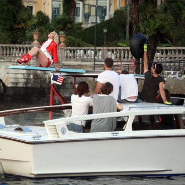 Lindsay Lohan plus camera crew.