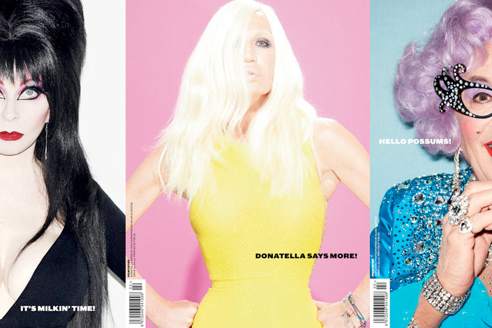 <em>Ponystep</em>'s three fall covers, starring Elvira, Donatella Versace, and Dame Edna.