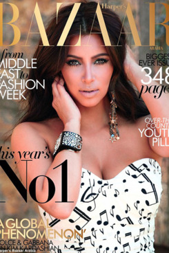 Kim Kardashian on the cover of Arabian Harper's Bazaar.