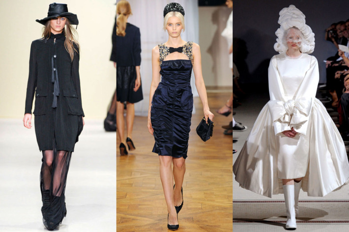 From left: spring looks from Ann Demeulemeester, Nini Ricci, and Comme des Garçons.