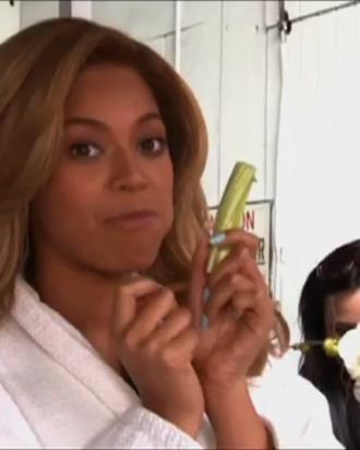 Beyoncé mid-mouthful.