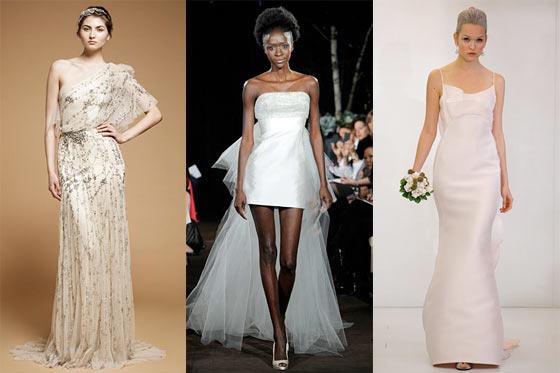 From left: new bridal looks Jenny Packham, Anne Bowen, and Angel Sanchez.