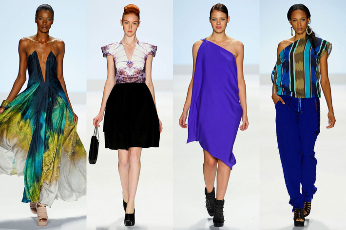 From left: looks from Anya Ayoung-Chee, Viktor Luna, Joshua McKinley, and Kimberly Goldson.