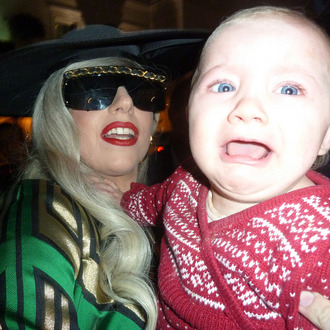 Lady Gaga holds and Kisses Baby Loissa in London after returning back to her London hotel after a days interviews at the London Television Studios. Gaga had been recording Chatty Man all day with Alan Carr. <P> Pictured: Lady Gaga and Baby Louissa <P> <B>Ref: SPL335890 161111 </B><BR/> Picture by: Splash News<BR/> </P><P> <B>Splash News and Pictures</B><BR/> Los Angeles:	310-821-2666<BR/> New York:	212-619-2666<BR/> London:	870-934-2666<BR/> photodesk@splashnews.com<BR/> </P>