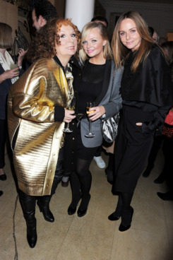 Jennifer Saunders in character as Edina Monsoon, Emma Bunton, and Stella McCartney.