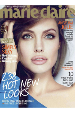 Angelina Jolie on the cover of January's <em>Marie Claire</em>.