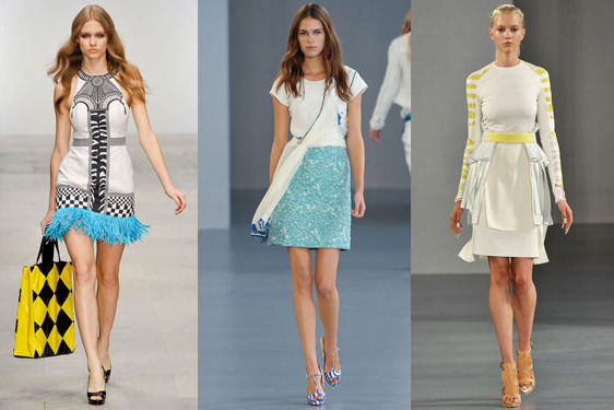 Spring 2012 looks from Holly Fulton, Michael van der Ham, and David Koma.