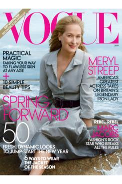 Meryl Streep covers 'Vogue' January 2012.