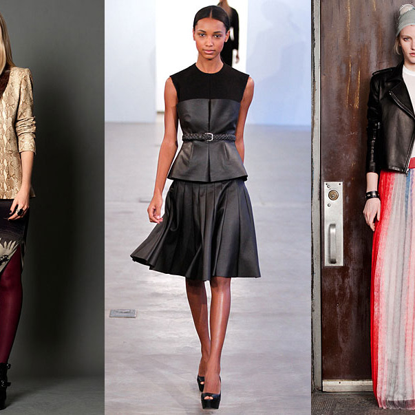 From left: new pre-fall looks from Nicole Miller, Calvin Klein, and rag & bone.