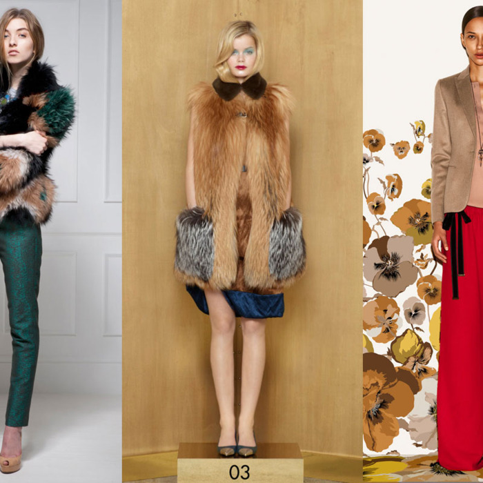 From left: new pre-fall looks from Matthew Williamson, Louis Vuitton, and Gucci.