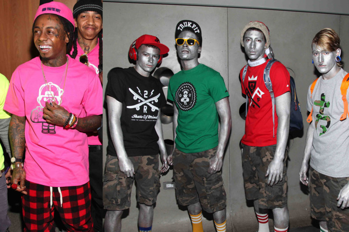 Lil Wayne (left) and his silver models.