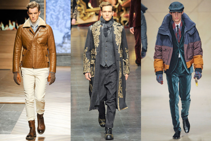 From left: new fall looks from Ermenegildo Zegna, Dolce & Gabbana, and Burberry.