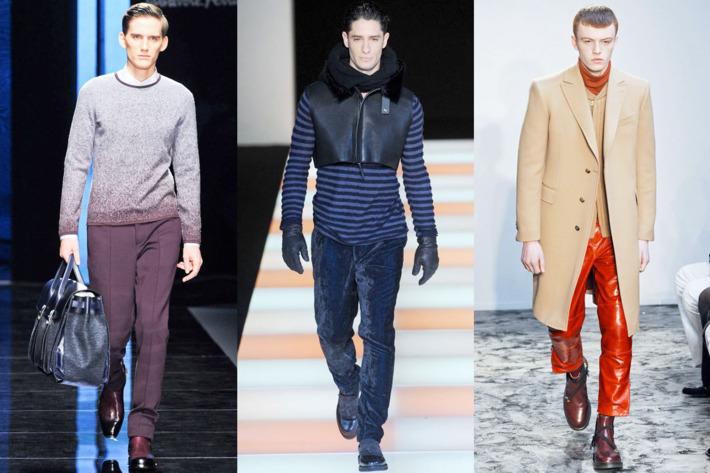 From left: new looks from Salvatore Ferragamo, Emporio Armani, and Pringle of Scotland.