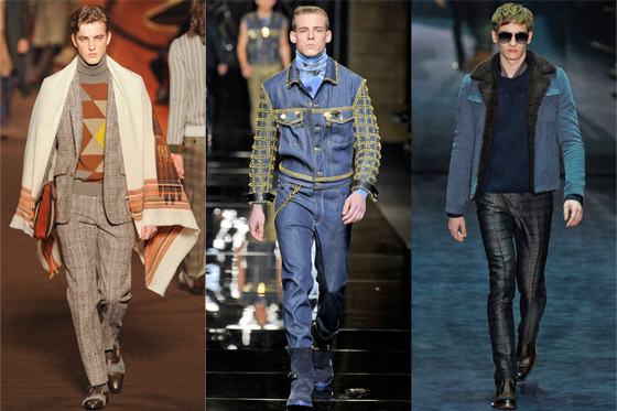 New menswear looks from Etro, Versace, and Gucci.