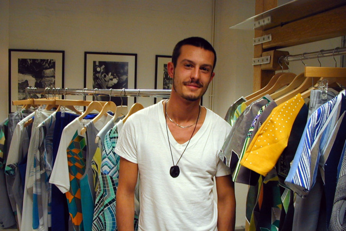 Jonathan Saunders in his studio with his spring 2011 collection.