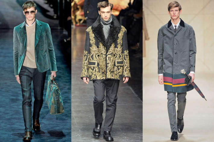From left: new menswear looks from Gucci, Dolce & Gabbana, and Burberry.
