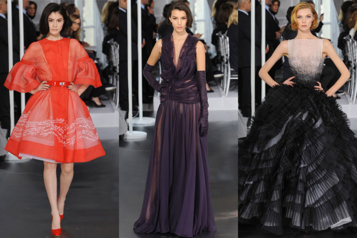 Three looks from Dior's latest couture collection.