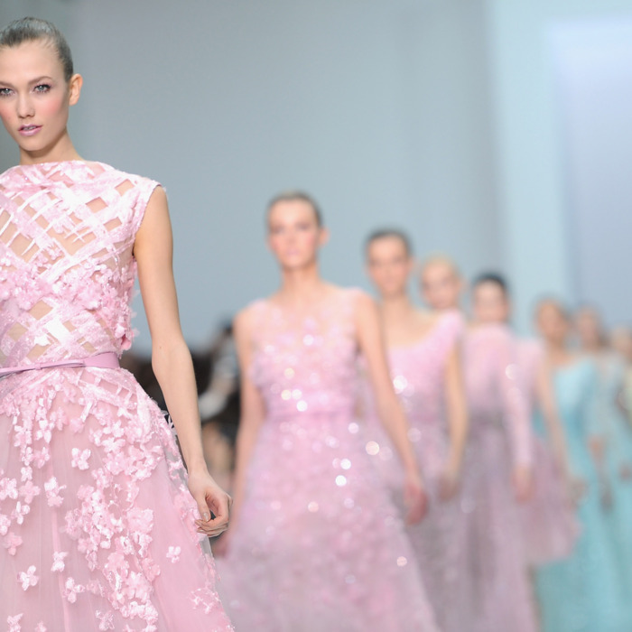 Models walk the runway during the Elie Saab Spring/Summer 2012 Haute-Couture Show as part of Paris Fashion Week at Grand Palais on January 25, 2012 in Paris, France.