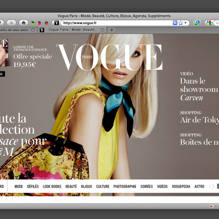 The homepage of French Vogue's forthcoming website.