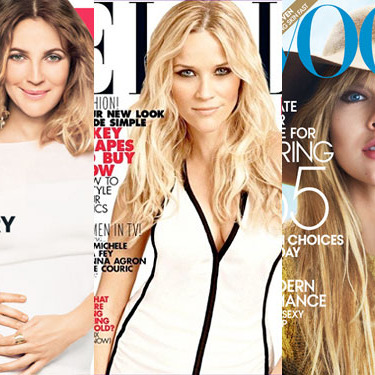 February covers for <em>Instyle, Elle,</em> and <em>Vogue.</em>