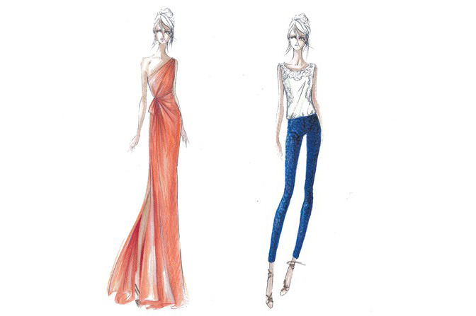 Two sketches from Ferretti's forthcoming collection.