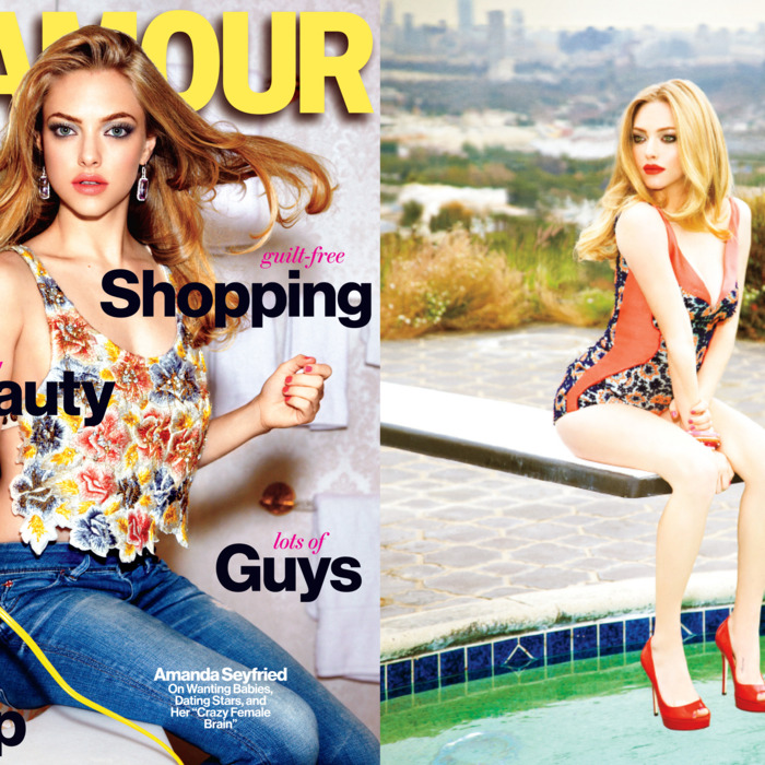 Amanda Seyfried on <em>Glamour</em>'s new cover (left) and accompanying editorial, shot by Ellen von Unwerth.