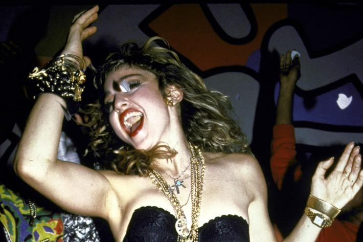 Singer Madonna performing.
