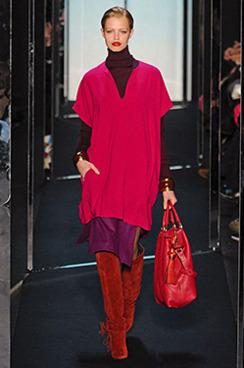A 15-year-old Hailey Clauson walking in Diane von Furstenburg's fall 2011 show.