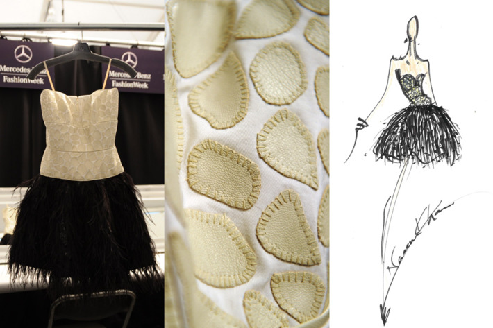 Khan's leather corset dress, plus a detail shot and sketch.