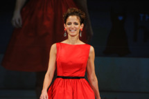 Editor-in-Chief of Glamour magazine Cindi Leive, walks on the runway wearing a Jason Wu design at The Heart Truth's Red Dress Collection 2012 Fashion Show at Hammerstein Ballroom on February 8, 2012 in New York City.