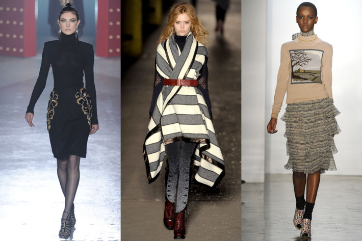 From left: looks from Jason Wu, rag & bone, and Suno