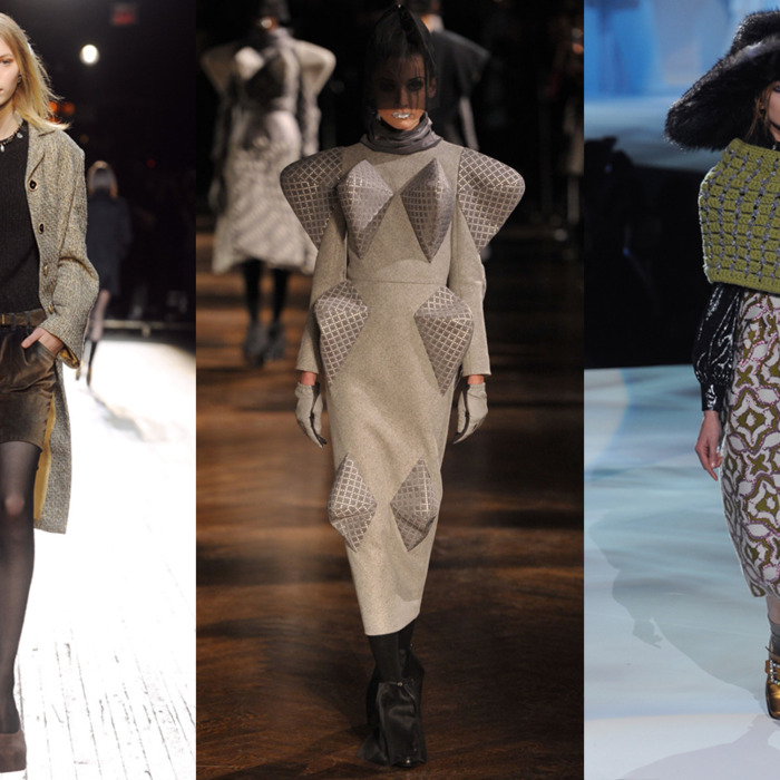 From left: looks from Theyskens' Theory, Thom Browne, and Marc Jacobs