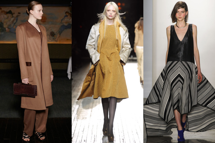 From left: looks from The Row, Theyskens' Theory, and Zero + Maria Cornejo.