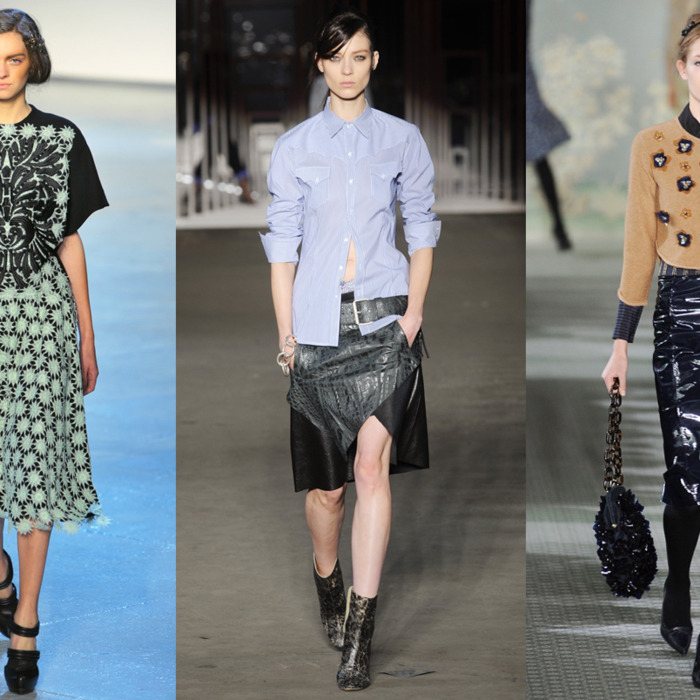From left: looks from Rodarte, Diesel Black Gold, and Tory Burch