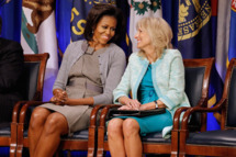 U.S. first lady Michelle Obama (L) and Dr. Jill Biden attend an event to announce a new report regarding military spouse employment at the Pentagon February 15, 2012 in Arlington, Virginia. The report,