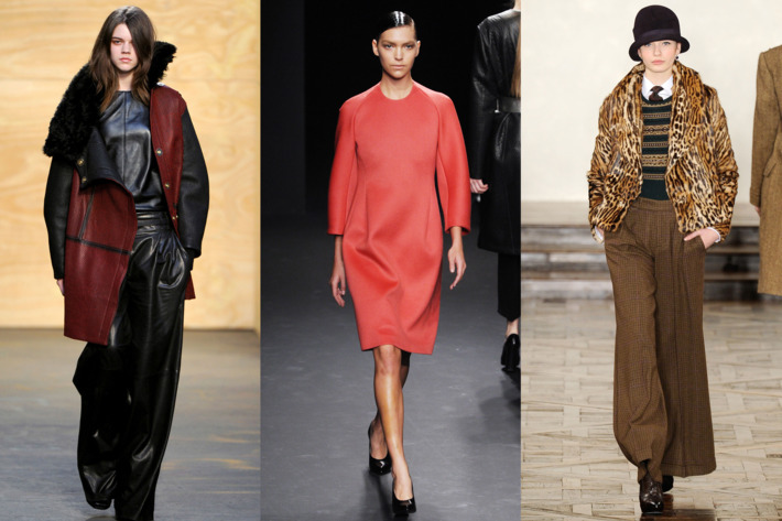 From left: new fall looks from Proenza Schouler, Calvin Klein, and Ralph Lauren.