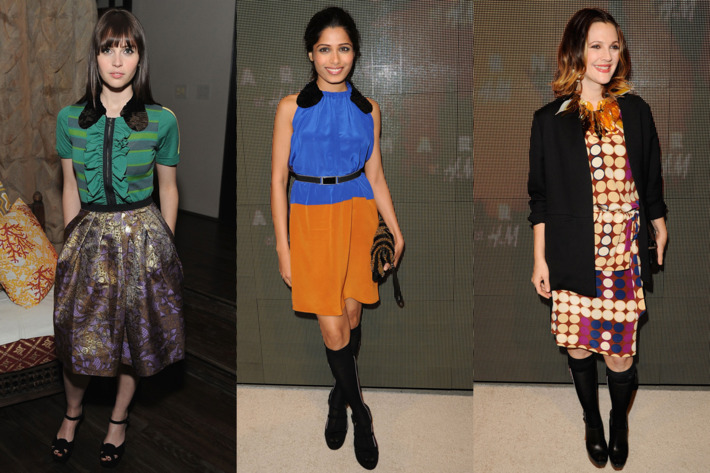 Felicity Jones, Freida Pinto, and Drew Barrymore.